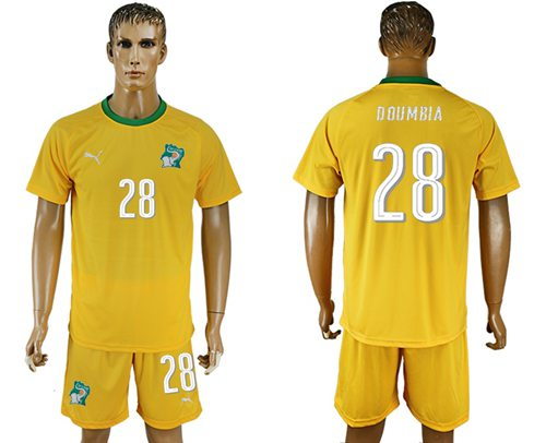 Cote d'lvoire #28 Doumbia Home Soccer Country Jersey
