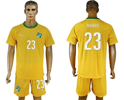 Cote d'lvoire #23 Mande Home Soccer Country Jersey