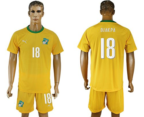 Cote d'lvoire #18 Djakpa Home Soccer Country Jersey
