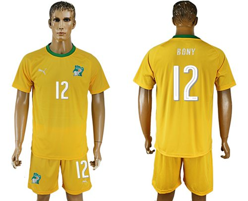 Cote d'lvoire #12 Bony Home Soccer Country Jersey