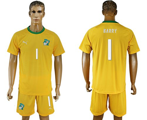 Cote d'lvoire #1 Barry Home Soccer Country Jersey