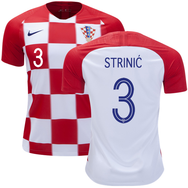 Croatia #3 Strinic Home Soccer Country Jersey