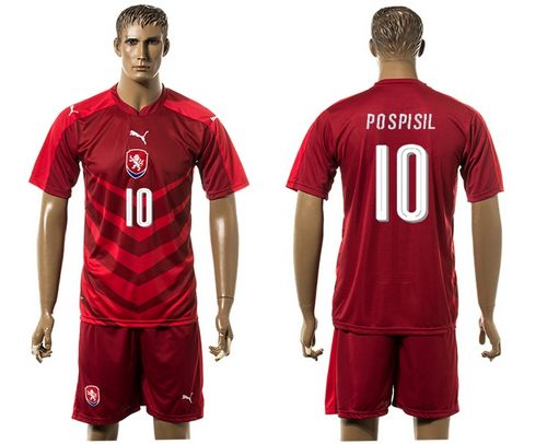 Czech #10 Pospisil Red Home Soccer Country Jersey