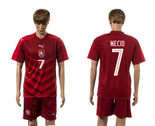 Czech #7 Necid Red Home Soccer Country Jersey