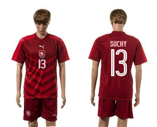 Czech #13 Suchy Red Home Soccer Country Jersey