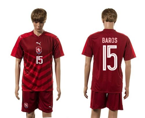 Czech #15 Baros Red Home Soccer Country Jersey