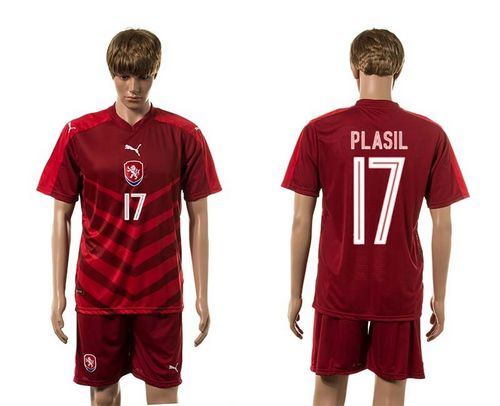 Czech #17 Plasil Red Home Soccer Country Jersey