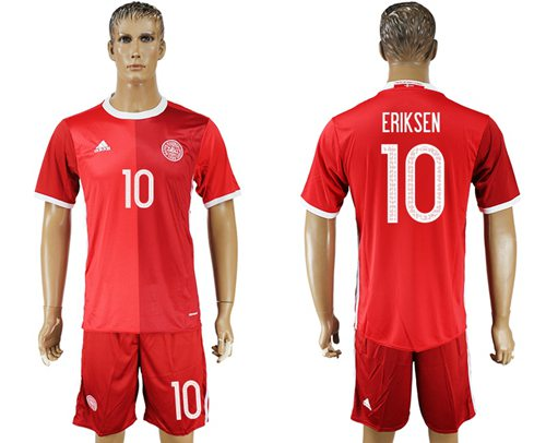 Danmark #10 Eriksen Red Home Soccer Country Jersey