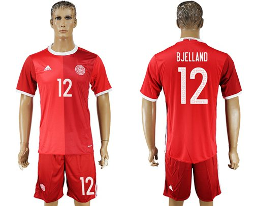 Danmark #12 Bjelland Red Home Soccer Country Jersey