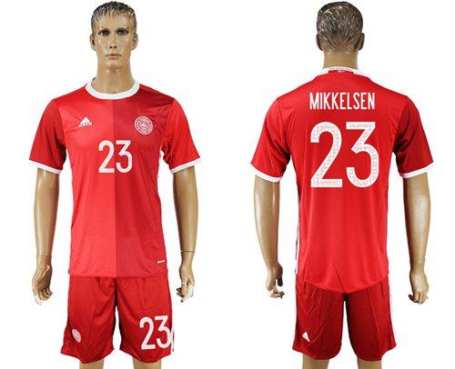 Danmark #23 Mikkelsen Red Home Soccer Country Jersey