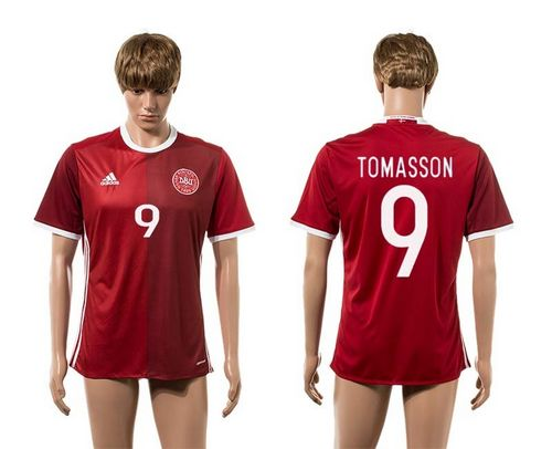 Danmark #9 Tomasson Red Home Soccer Country Jersey