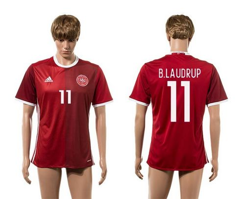 Danmark #11 B.Laudrup Red Home Soccer Country Jersey