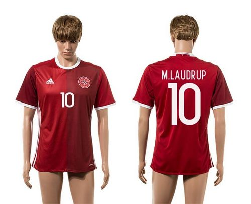 Danmark #10 M.Laudrup Red Home Soccer Country Jersey
