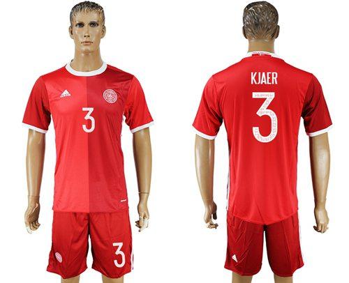 Danmark #3 Kjaer Red Home Soccer Country Jersey