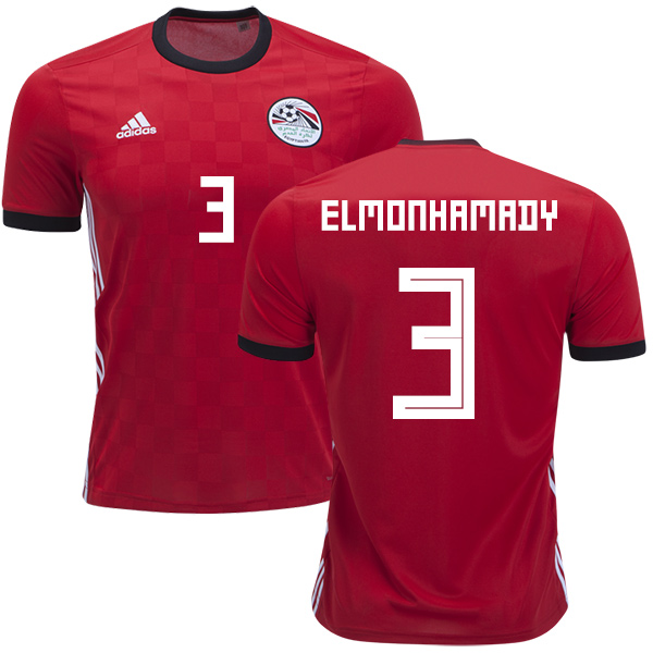 Egypt #3 Elmonhamady Red Home Soccer Country Jersey
