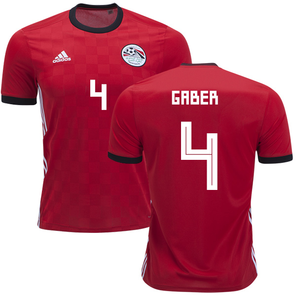 Egypt #4 Gaber Red Home Soccer Country Jersey