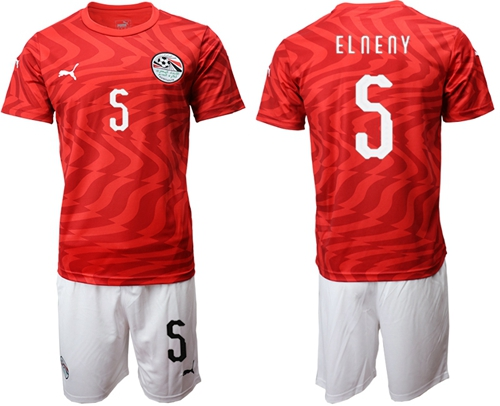 Egypt #5 Elneny Red Home Soccer Country Jersey