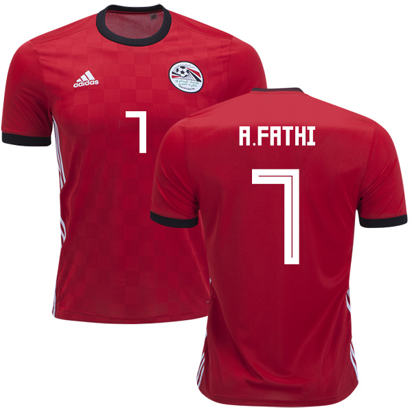Egypt #7 A.Fathi Red Home Soccer Country Jersey