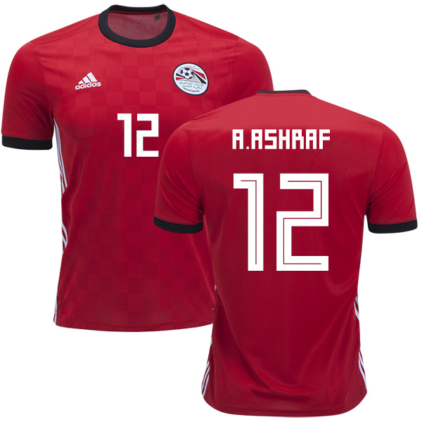 Egypt #12 A.Ashraf Red Home Soccer Country Jersey