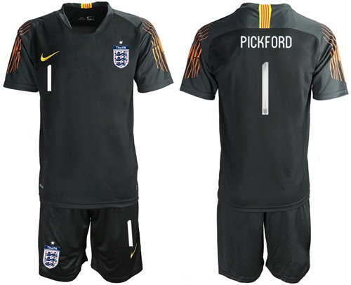 England #1 Pickford Black Goalkeeper Soccer Country Jersey