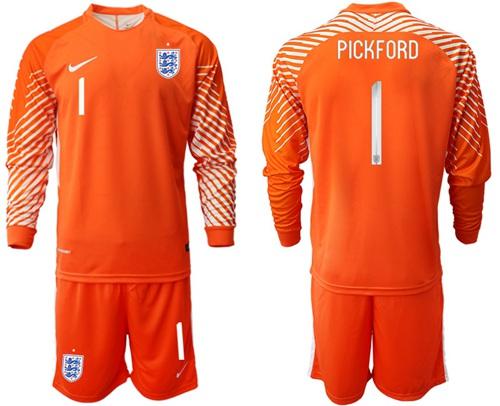 England #1 Pickford Orange Long Sleeves Goalkeeper Soccer Country Jersey