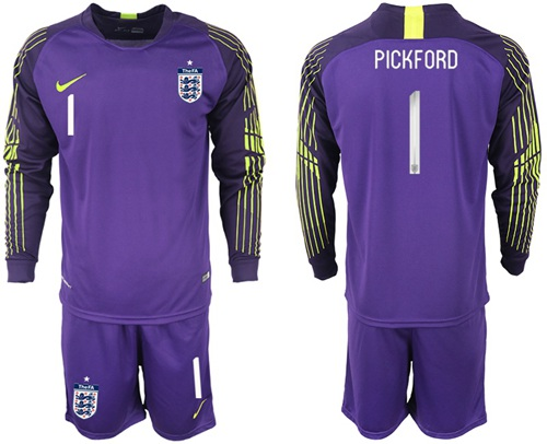 England #1 Pickford Purple Long Sleeves Goalkeeper Soccer Country Jersey
