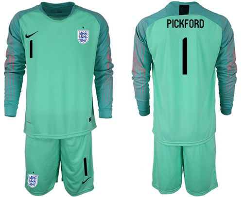 England #1 Pickford Green Long Sleeves Goalkeeper Soccer Country Jersey