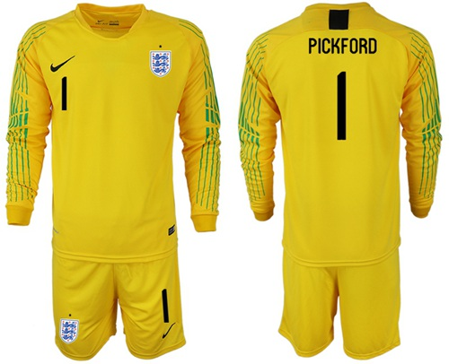 England #1 Pickford Yellow Long Sleeves Goalkeeper Soccer Country Jersey
