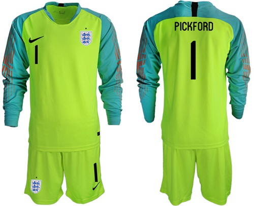 England #1 Pickford Shiny Green Long Sleeves Goalkeeper Soccer Country Jersey