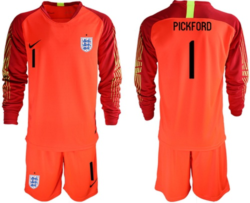 England #1 Pickford Red Long Sleeves Goalkeeper Soccer Country Jersey