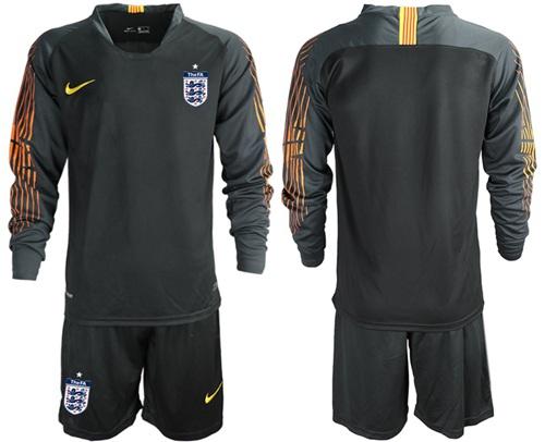England Blank Black Long Sleeves Goalkeeper Soccer Country Jersey