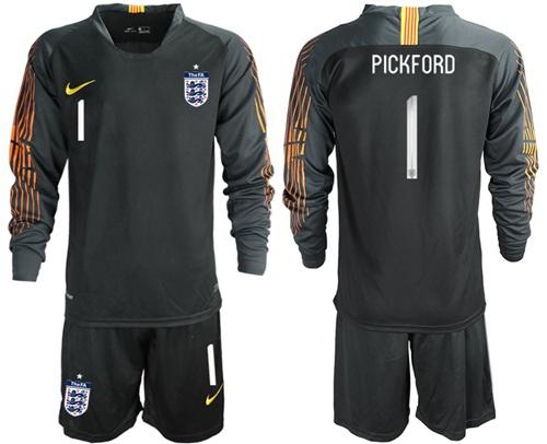 England #1 Pickford Black Long Sleeves Goalkeeper Soccer Country Jersey