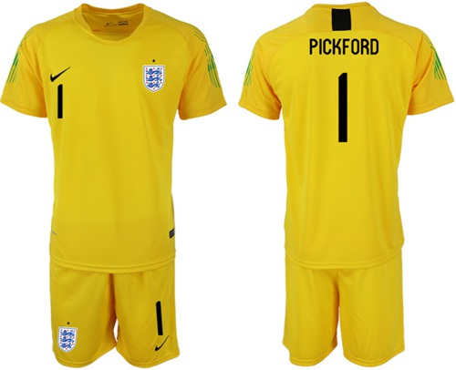England #1 Pickford Yellow Goalkeeper Soccer Country Jersey