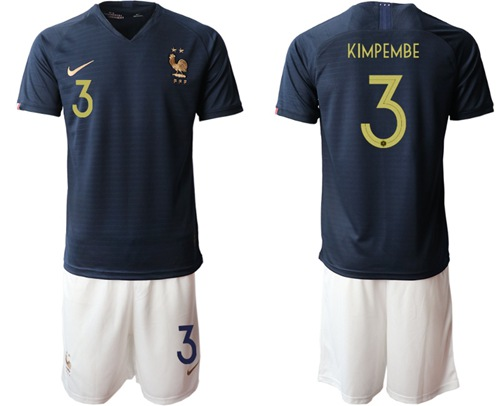 France #3 Kimpembe Home Soccer Country Jersey