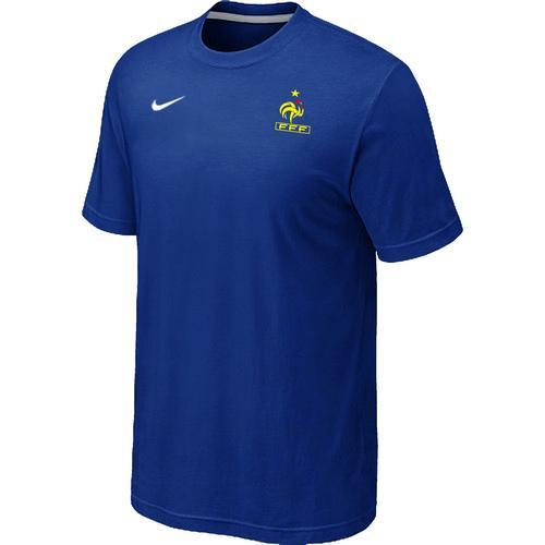Nike France 2014 World Small Logo Soccer T-Shirt Blue