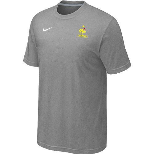 Nike France 2014 World Small Logo Soccer T-Shirt Light Grey