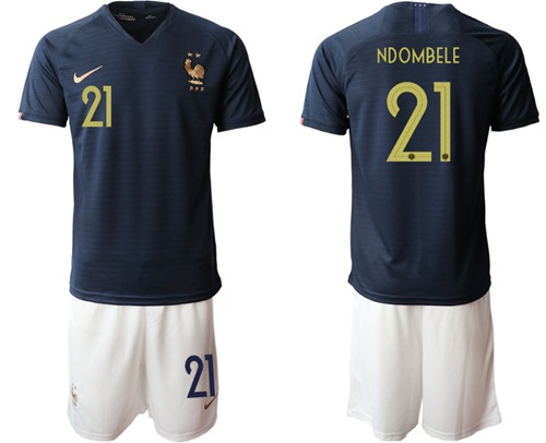 France #21 Ndombele Home Soccer Country Jersey