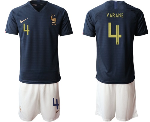 France #4 Varane Home Soccer Country Jersey