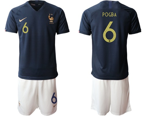 France #6 Pogba Home Soccer Country Jersey