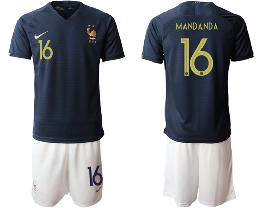 France #16 Mandanda Home Soccer Country Jersey