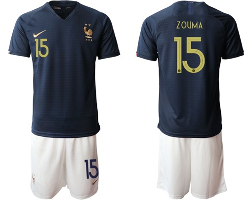 France #15 Zouma Home Soccer Country Jersey