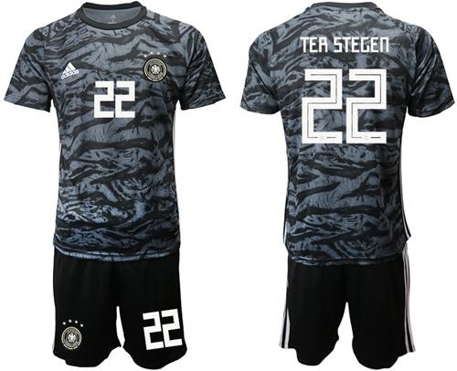Germany #22 Ter Stegen Black Goalkeeper Soccer Country Jersey