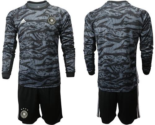 Germany Blank Black Goalkeeper Long Sleeves Soccer Country Jersey