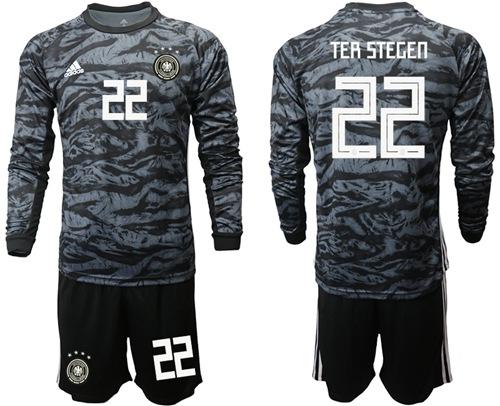 Germany #22 Ter Stegen Black Goalkeeper Long Sleeves Soccer Country Jersey