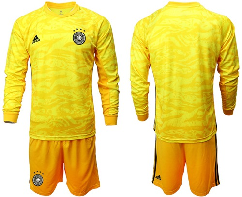 Germany Blank Yellow Goalkeeper Long Sleeves Soccer Country Jersey