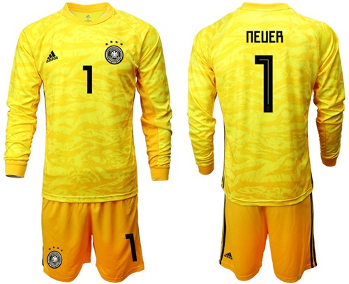 Germany #1 Neuer Yellow Goalkeeper Long Sleeves Soccer Country Jersey