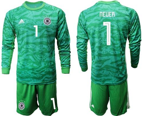 Germany #1 Neuer Green Goalkeeper Long Sleeves Soccer Country Jersey