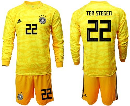 Germany #22 Ter Stegen Yellow Goalkeeper Long Sleeves Soccer Country Jersey