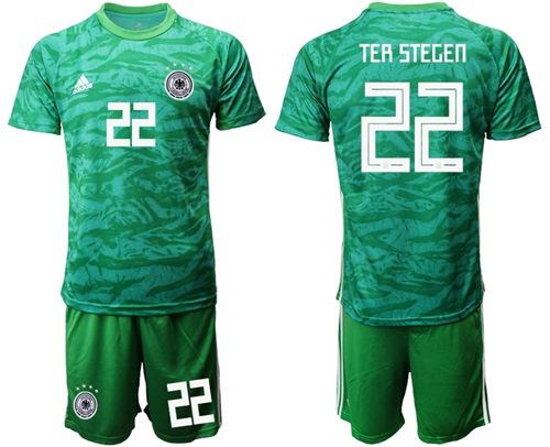 Germany #22 Ter Stegen Green Goalkeeper Soccer Country Jersey