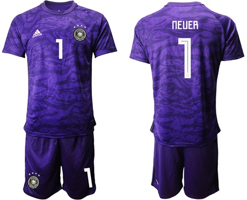 Germany #1 Neuer Purple Goalkeeper Soccer Country Jersey